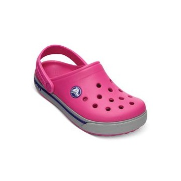 crocs classic kids fuchsia light gray
