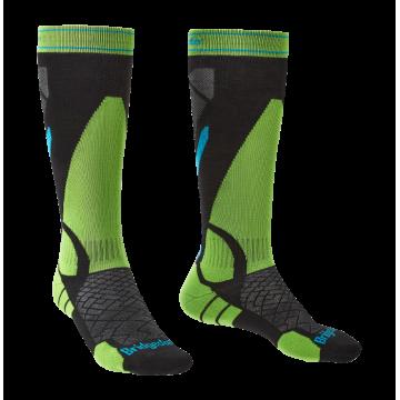 Ponožky BRIDSEDALE Ski Light Weight (black-green 843)